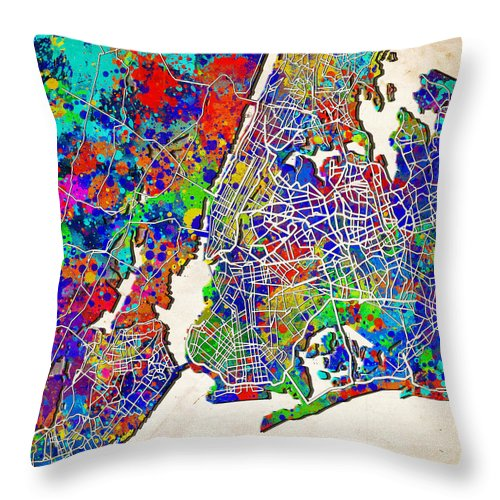 New York Map Throw Pillow featuring the painting New York Map Abstract 2 by Bekim Art