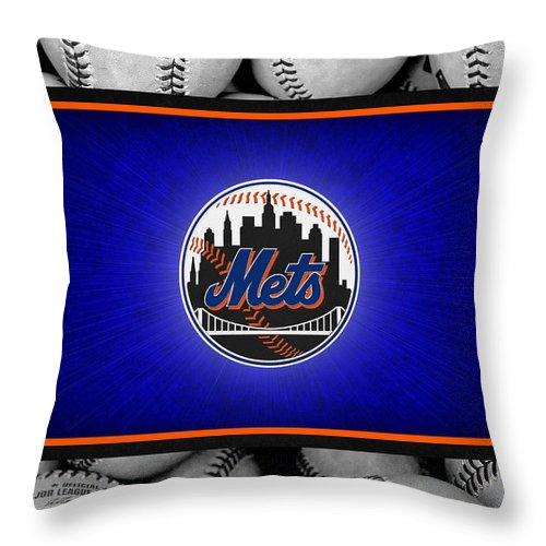 Mets Throw Pillow featuring the photograph New York Mets by Joe Hamilton