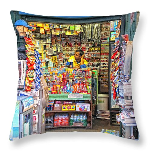 New York City Throw Pillow featuring the photograph New York Newsstand by Dave Mills