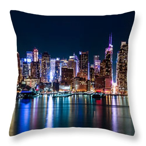 America Throw Pillow featuring the photograph New York Panorama By Night by Mihai Andritoiu