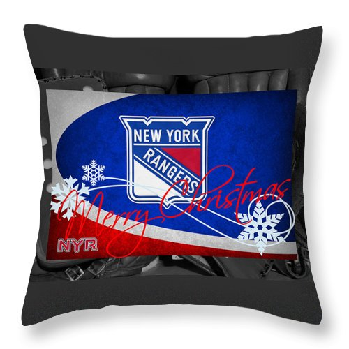 Rangers Throw Pillow featuring the photograph New York Rangers Christmas by Joe Hamilton