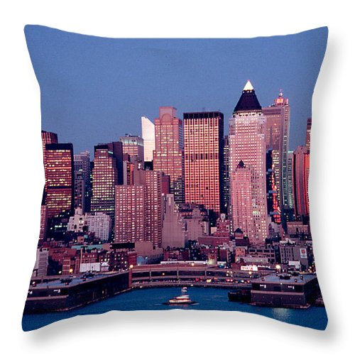 Nyc Throw Pillow featuring the photograph New York Skyline At Dusk by Anthony Sacco