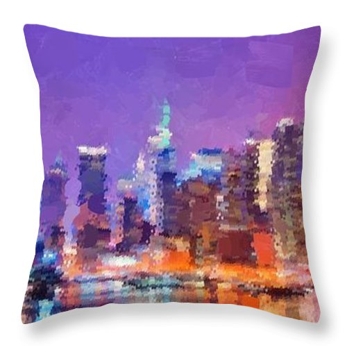 New Throw Pillow featuring the painting New York City - Skyline by Samuel Majcen