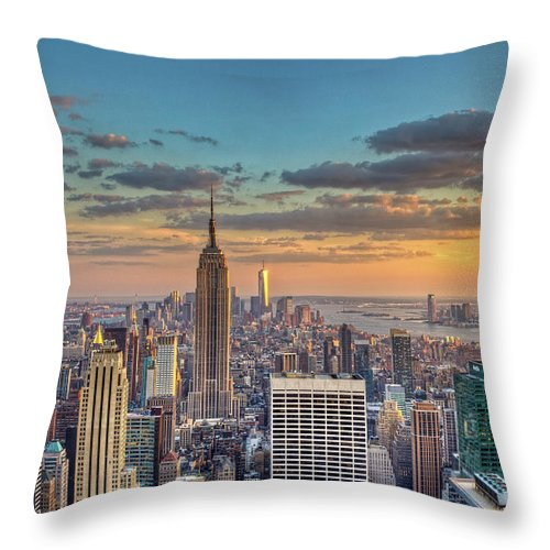 Tranquility Throw Pillow featuring the photograph New York Skyline Sunset by Basic Elements Photography