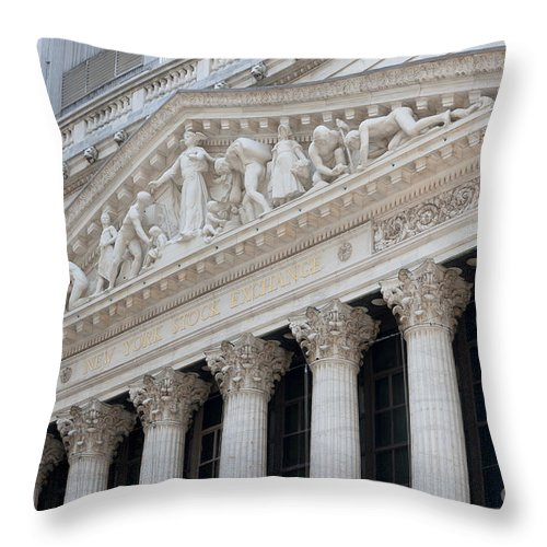 Clarence Holmes Throw Pillow featuring the photograph New York Stock Exchange I by Clarence Holmes