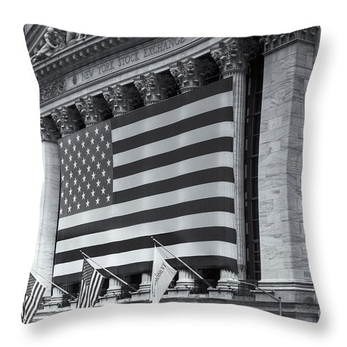 Clarence Holmes Throw Pillow featuring the photograph New York Stock Exchange Iv by Clarence Holmes