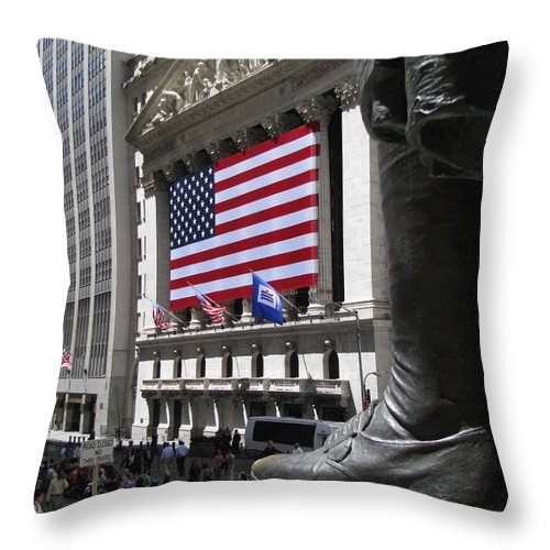 New York Throw Pillow featuring the photograph New York Stock Exchange by Jeff Watts