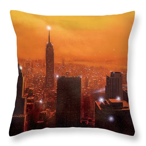 America Throw Pillow featuring the digital art New York Sunset by MGL Meiklejohn Graphics Licensing