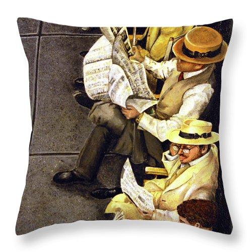 Newspaper Throw Pillow featuring the painting New York Times by Linda Simon