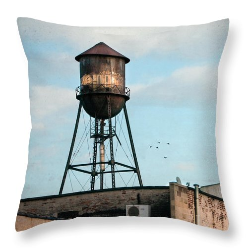 Water Tower Throw Pillow featuring the photograph New York Water Tower 7 by Gary Heller