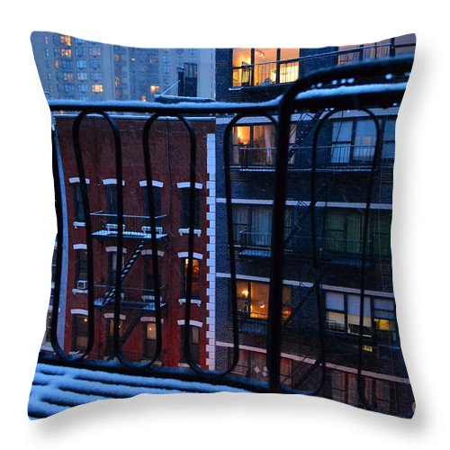 New York Throw Pillow featuring the photograph New York Window - Fire Escape In Winter by Miriam Danar