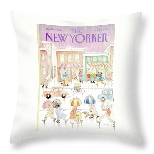 Rain Throw Pillow featuring the painting New Yorker April 16th, 1984 by Anne Burgess