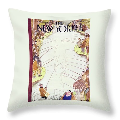 Sport Throw Pillow featuring the painting New Yorker April 18 1936 by Rea Irvin