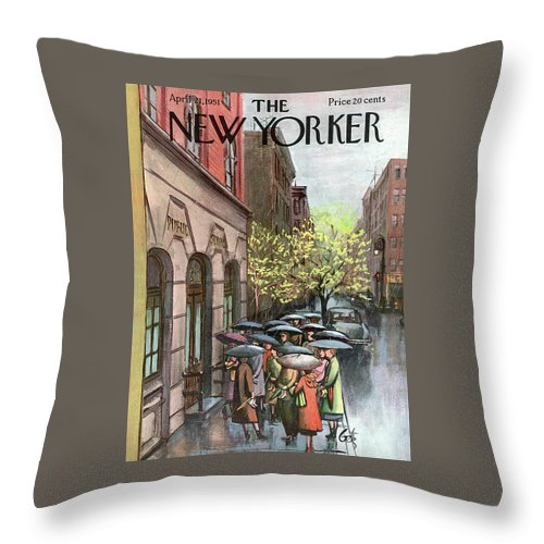 Urban Throw Pillow featuring the painting New Yorker April 21st, 1951 by Arthur Getz