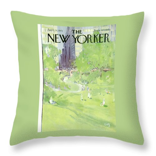 Urban Throw Pillow featuring the painting New Yorker April 24th, 1971 by Arthur Getz