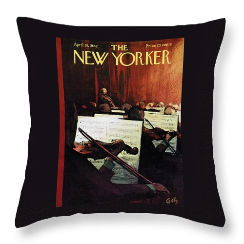 Concert Throw Pillow featuring the painting New Yorker April 28th, 1962 by Arthur Getz