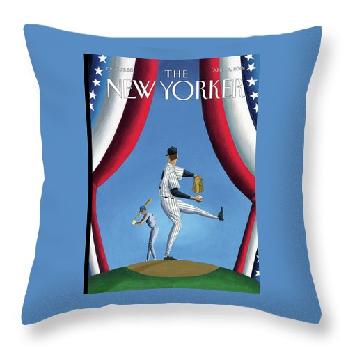 Opening Day Sport Sports Athlete Athletics Baseball Yankees Yanks Pitch Hitter Slugger Ball Game New York Pitch Pitcher Strike Out Home Run Mark Ulriksen Mul Mul Artkey 51204 Throw Pillow featuring the painting New Yorker April 2nd, 2001 by Mark Ulriksen