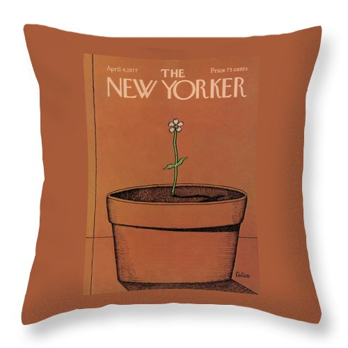 Gardening Throw Pillow featuring the painting New Yorker April 4th, 1977 by Robert Tallon