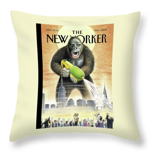 121165 121165  Hbl Harry Bliss  Fictional Characters Monsters Films Seasons Summer Toys Super Soaker King Kong Throw Pillow featuring the painting New Yorker August 1st, 2005 by Harry Bliss
