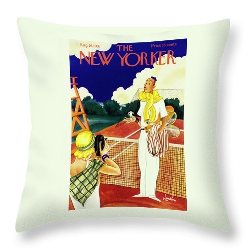 Illustration Throw Pillow featuring the painting New Yorker August 29 1931 by Constantin Alajalov