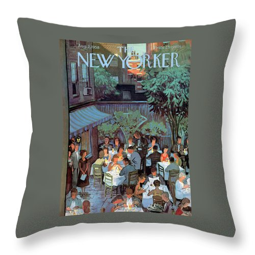 Arthur Getz Agt Throw Pillow featuring the painting New Yorker August 2nd, 1958 by Arthur Getz