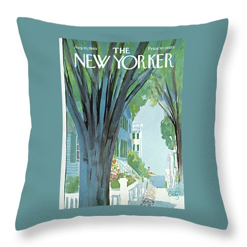 Arthur Getz Agt Throw Pillow featuring the painting New Yorker August 30th, 1969 by Arthur Getz