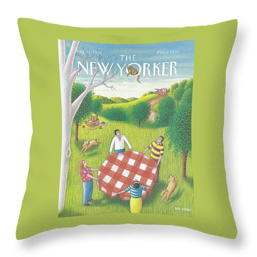 Family Throw Pillow featuring the painting New Yorker August 31st, 1992 by Bob Knox