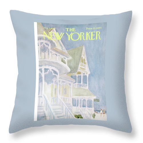 James Stevenson Jst Throw Pillow featuring the painting New Yorker August 5th, 1967 by James Stevenson