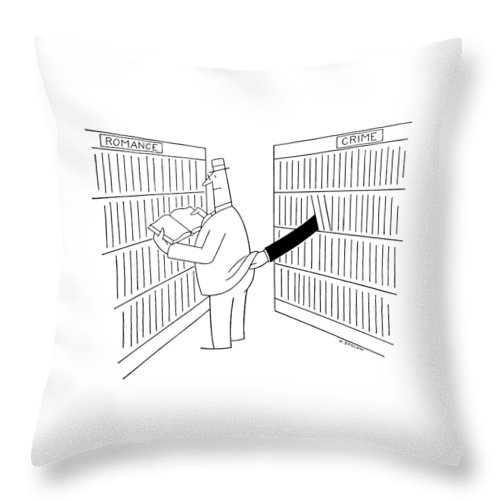 70579 No Caption Man Reading In Romance Dept. Of Library Is Beige Robbed By A Pickpocket In The Crime Stories. Otto Soglow Throw Pillow featuring the drawing New Yorker August 5th, 1967 by Otto Soglow