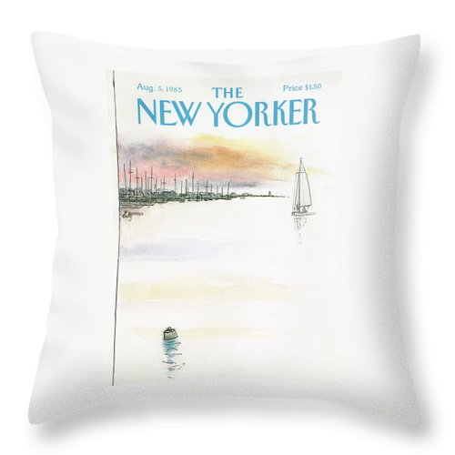 Nature Throw Pillow featuring the painting New Yorker August 5th, 1985 by Arthur Getz