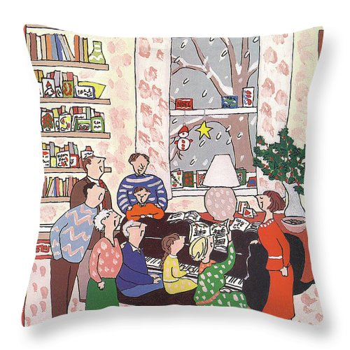 (a Family Gathers Around A Piano As They Sing Christmas Carols.) Entertainment Throw Pillow featuring the painting New Yorker December 10th, 1990 by Devera Ehrenberg