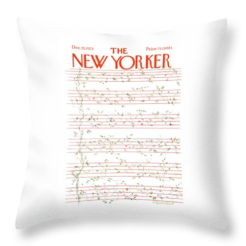 Christmas Throw Pillow featuring the painting New Yorker December 15th, 1975 by James Stevenson