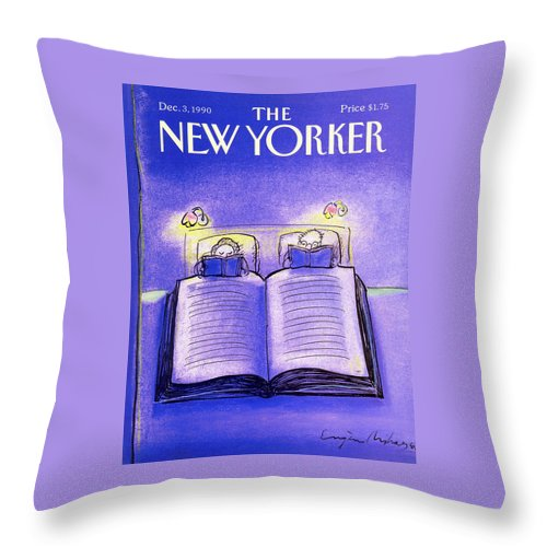 Married Couple Throw Pillow featuring the painting New Yorker December 3rd, 1990 by Eugene Mihaesco