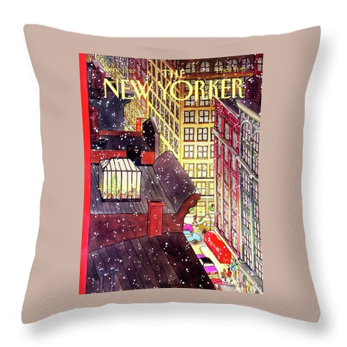 A Birds-eye View Of A Busy Shopping Evening Downtown. Snow Begins To Fall On The Rooftops Where One Sunroof Is Illuminated By A Crowd Gathered Around A Christmas Tree. Throw Pillow featuring the painting New Yorker December 7th, 1992 by Roxie Munro