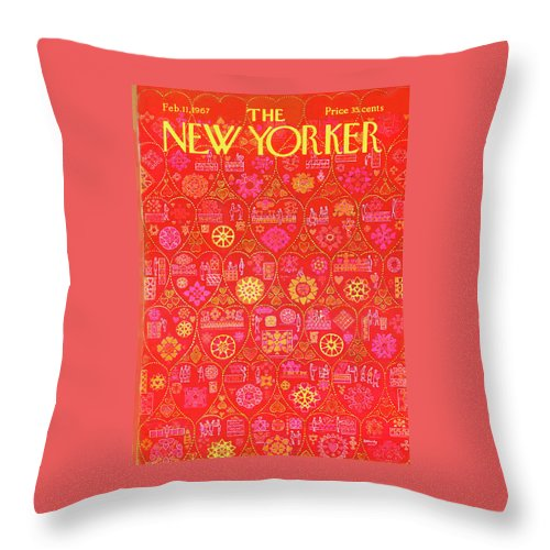 Holiday Throw Pillow featuring the painting New Yorker February 11th, 1967 by Anatol Kovarsky