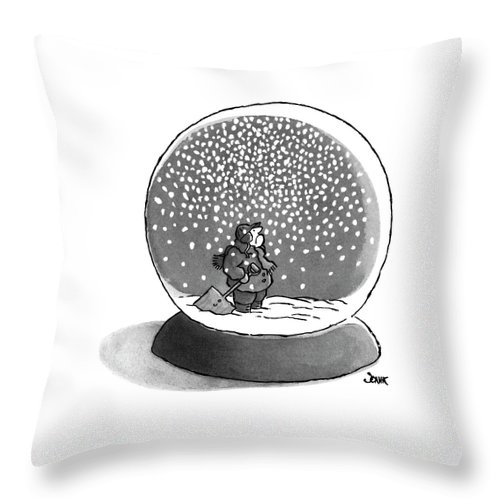 Philosophy Throw Pillow featuring the drawing New Yorker February 14th, 1977 by John Jonik