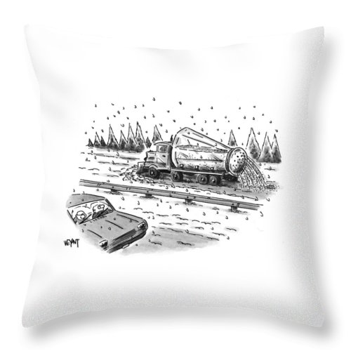 Winter Throw Pillow featuring the drawing New Yorker February 22nd, 1999 by Christopher Weyant