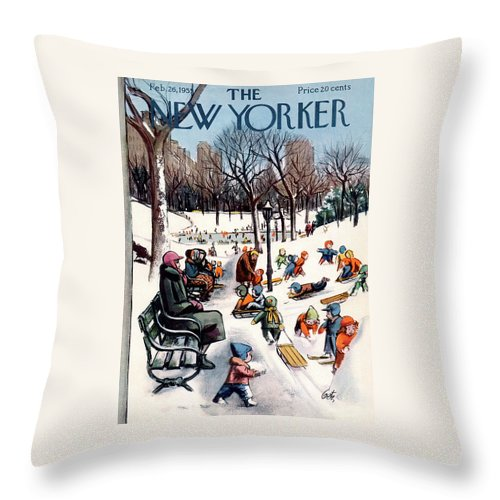 New York City Throw Pillow featuring the painting New Yorker February 26th, 1955 by Arthur Getz