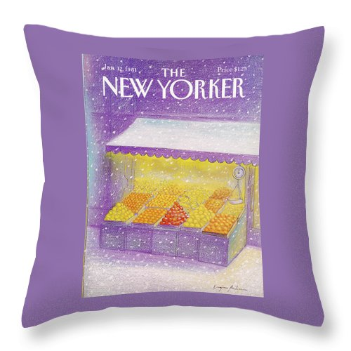Season Throw Pillow featuring the painting New Yorker January 12th, 1981 by Eugene Mihaesco