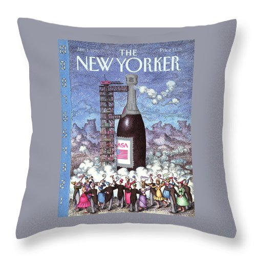 Holidays Throw Pillow featuring the painting New Yorker January 1st, 1990 by John O'Brien