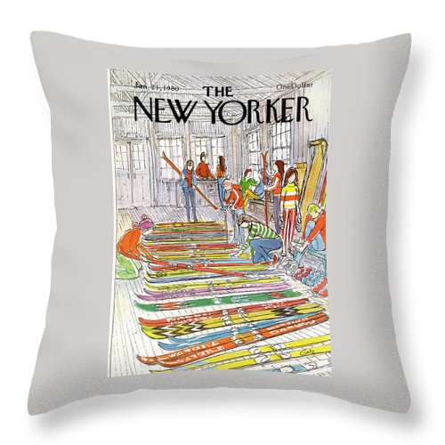 Sports Throw Pillow featuring the painting New Yorker January 21st, 1980 by Arthur Getz