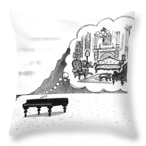 (the Piano On A Desolate Beach Wishing It Was In A Nice Parlor.)  No Caption Piano On Beach Has Mental Image Of Comfortable Victorian Parlor. Refers To Jane Campion's Film  Throw Pillow featuring the drawing New Yorker January 24th, 1994 by Mort Gerberg