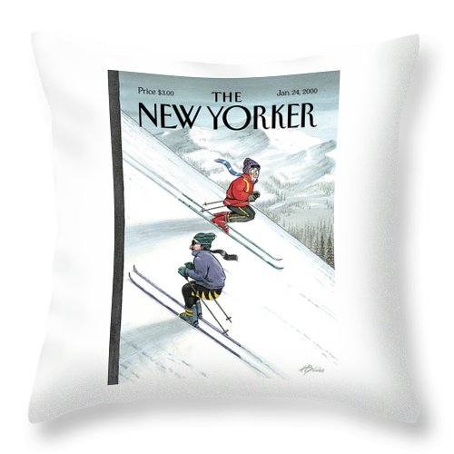 Up The Down Slope Ski Skiing Winter Sports Mountain Slopes Mountains Recreation Activities Harry Bliss Hbl Hbl Artkey 51153 Throw Pillow featuring the painting New Yorker January 24th, 2000 by Harry Bliss
