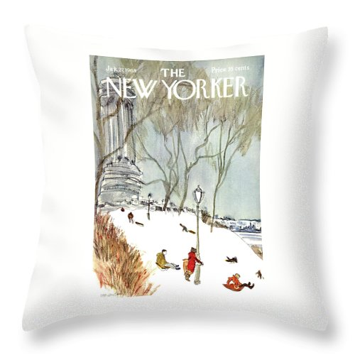 Seasons Throw Pillow featuring the painting New Yorker January 27th, 1968 by James Stevenson