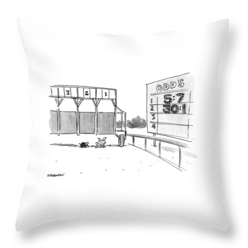 (tortoise And Hare At Start Of Race Being Held At Official Racetrack Throw Pillow featuring the drawing New Yorker January 29th, 1990 by James Stevenson