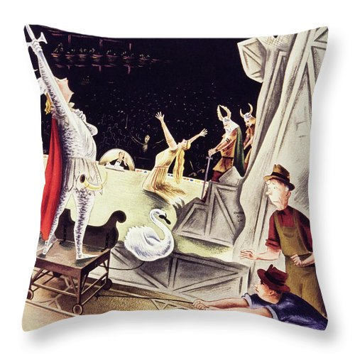 Illustration Throw Pillow featuring the painting New Yorker January 30 1937 by Constantin Alajalov