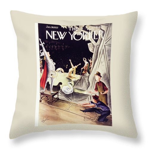 Theater Throw Pillow featuring the painting New Yorker January 30 1937 by Constantin Alajalov