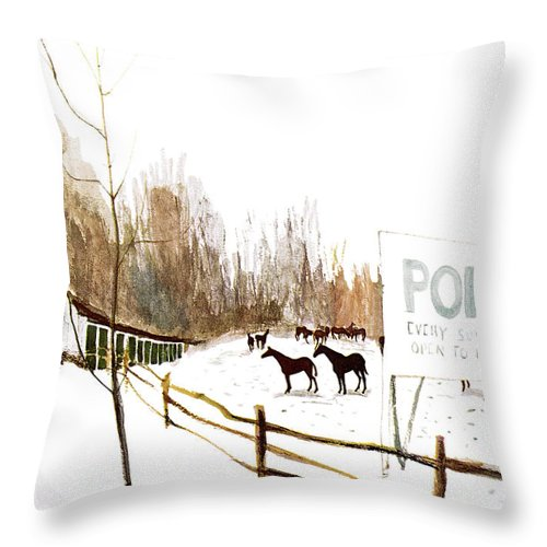 Suburb Country Outdoors Community Town Small Suburban Quaint Village Sport Sports Horse Horses Polo Snow Winter Snowing Jst James Stevenson Sumnerok James Stevenson Jst Artkey 49692 Throw Pillow featuring the painting New Yorker January 6th, 1962 by James Stevenson