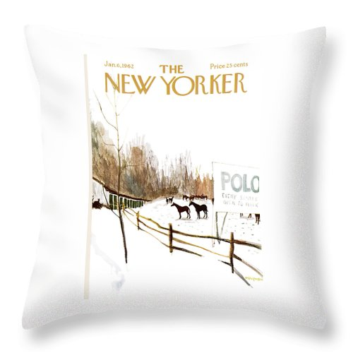 Suburb Throw Pillow featuring the painting New Yorker January 6th, 1962 by James Stevenson