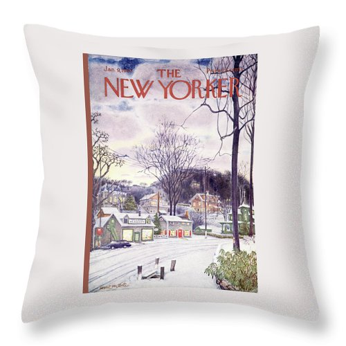 Suburban Throw Pillow featuring the painting New Yorker January 9th, 1965 by Albert Hubbell